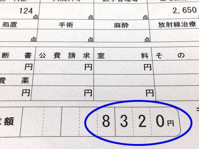 2ヶ月で8320円の領収書